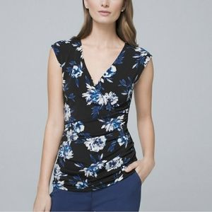 Whbm black and blue floral top